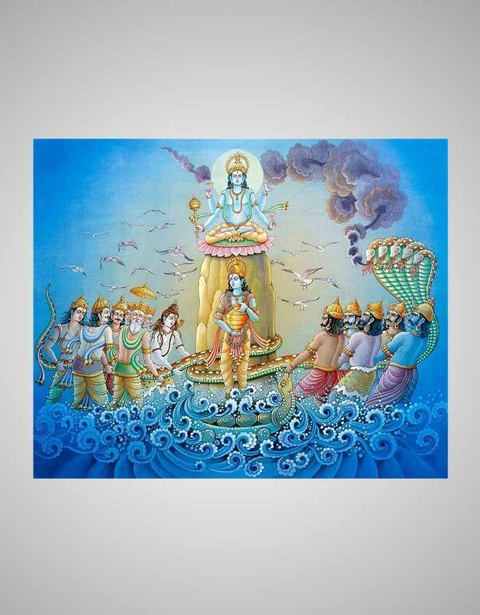 Samudra Manthan Painting - The Churning of the Ocean Art