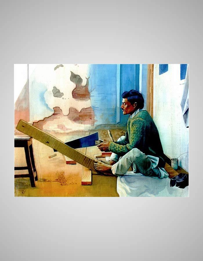 Badhai Painting - The Wood Carvers of India - Indian Paintings