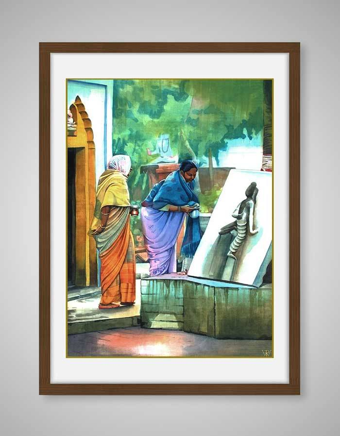 Arghyam Painting - offering Water to The Deity in Temple - Religious Painting