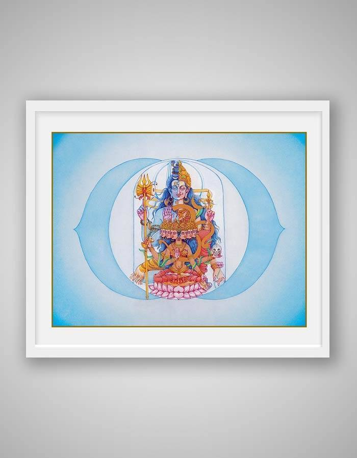 Ajna Chakra Painting - Sixth Energy Centre Or The Third Eye Chakra - Blue Background